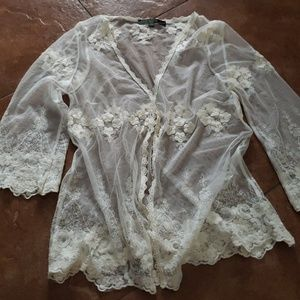Sheer overlay blouse coverup top? Small